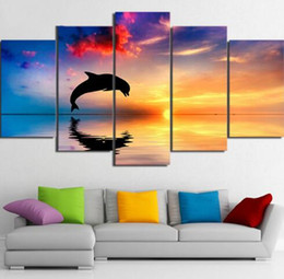 China Tableau Wall Art HD Printed Pictures Canvas 5 Panel Dolphin Sunset Landscape Home Decoration Modern Paintings Modular Posters supplier dolphin figures suppliers