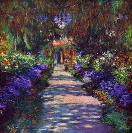 Garden Oil Paint NZ - Garden at Giverny by Claude Monet Hand Painted & HD Print Impressionist Landscape Art Oil Painting On Canvas.Wall Art Multi sizes l148