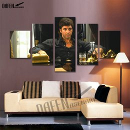 al stars UK - Canvas Art Movie Star Al Pacino in Tony Montana Scarface Picture 5 Piece Wall Painting Cafe Bar Home Decoartion with Framed
