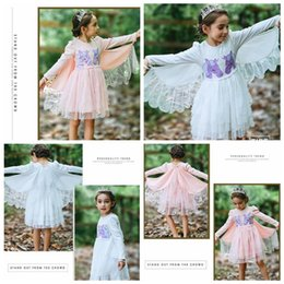Discount angel baby clothing - Unicorn Embroidery Girls Dresses Long Sleeved Baby Dresses Girls Angel Wings Princess Dress Kids Designer Clothes YL742