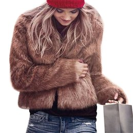 $enCountryForm.capitalKeyWord Australia - Women Winter Fur Coat Long Sleeve Faux Fur Elegant Outerwear Short Fluffy Overcoat Browm Black White Pink Plus Size S-3X