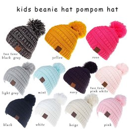 a54c39b9fb5 30pcsNew DesignerChildren Acrylic Winter BeaniePom Knit Beanies Baby Head  Ear Rib Slouchy Snow Cap For Kids Cable Knitted Gorro 11 styles C1
