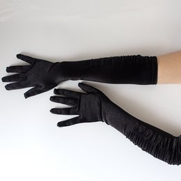 Wholesale Classic Women Black White Opera Elbow Wrist Stretch Satin Finger Long Gloves Girls Evening Party Prom Costume Fashion Gloves