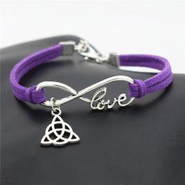 $enCountryForm.capitalKeyWord NZ - Bohemian Multiple Layers Charm Purple Leather Suede Bracelet & Bangles for Women Men Vintage Infinity Love Triangle Tibetan Jewelry 2018 New