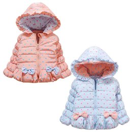 Wholesale 3d coat girl for sale – custom Baby Girls D Thickening Warm Coat Fashion Dot Printing Bowknot Baby Spring Warm Windproof Outerwear Clothing