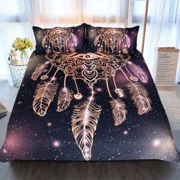 king size 3d galaxy bedding 2019 - Wholesale - Eye Dreamcatcher Bedding Set King Size Luxury Galaxy Golden Print Bohemian Bedclothes 3d Universe Duvet Cove