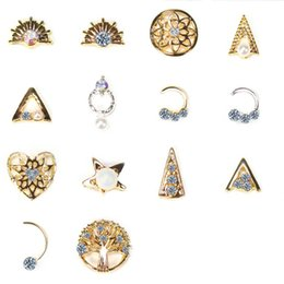 2017 nail designs 14 Types 10pcsBag Alloy Nail Art Stickers&Rhinestone Gold Silver Nail Rhinestone Decals Manicure Art Design Decorations