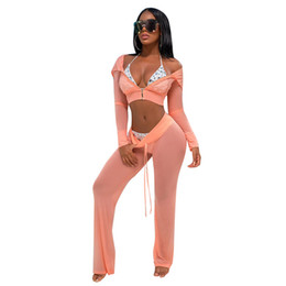 Wholesale sexy beach cover up dress online – Summer beach style two piece set crop tops and long pants mesh see through long sleeve sexy piece outfits cover ups beach wear