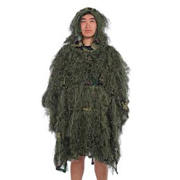 Full hunting camouFlage clothing online shopping - Hunting clothes D maple leaf Bionic Ghillie Suits Yowie sniper birdwatch Camouflage Clothing Desert Woodland Poncho
