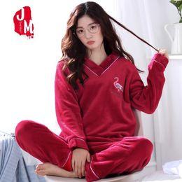 441c17e1a3 Warm Pyjamas Women Winter Coral Fleece Thick Women Pajamas Sets Autumn Flannel  Pajamas Female Cartoon Pijamas Homewear Sleep XXL D18110502