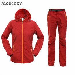 Discount hunting clothing set - Facecozy Women Summer Outdoor Fishing UV Shirt+Pant Set Quick Dry Camping&Hiking Shirts Long Sleeve Hunting Clothes Plus