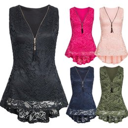 Wholesale Ladies Tees NZ - ladies party tops sexy top tees plus size Women Floral Lace Zip Up Tank Top Sleeveless Slim Vest Pure camisa feminina casual