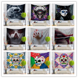Sofa coStume online shopping - Bar decoration skull tapestry design wall hanging fresco yoga mat beach towel picnic blanket sofa cover costume party backdrop props