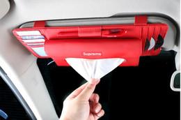 Venta al por mayor de Universal para coche Visera parasol Tissue Holder Car Visera tipo tarjeta Pluma CD Clip organizador Caja de pañuelos Stowing Tidying Car Accessories