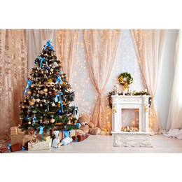 $enCountryForm.capitalKeyWord NZ - Indoor Fireplace Garland Home Xmas Party Background Printed Curtains Glitters Decorated Christmas Tree Baby Kids Photo Backdrops
