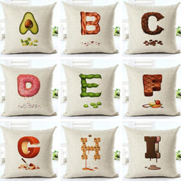 $enCountryForm.capitalKeyWord Canada - Cute A-Z 26 English Letter of Foods Pillowcases Cotton Linen Pillow Covers Throw Pillow Case for Home Bed Sofa Deco Kids 18 *18Inch-YW9651