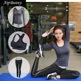 Yoga Pants Sports Bra Canada - AipBunny New arrival Women's Yoga Set ( long sleeve shirt & Shockproof Sport Bras & Pants) Fitness Running Gym Sport Wear Suits