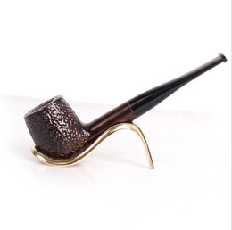 smoking wood pipes carve NZ - Ebony pipe, hammer, bucket, solid wood, detachable filter, carving, carving, round mouth, straight type smoking set.