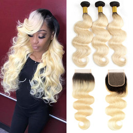 tone color 14 hair NZ - Two Tone 1B 613 Ombre Blonde Dark Roots Brazilian Body Wave Human Hair Weave Bundles With 4x4 Free Part Top Closure Hair Extension