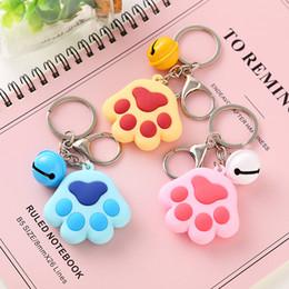 $enCountryForm.capitalKeyWord UK - Dog Paw Print Bell Keychains Key Ring Chains Handbag Pendant Cheap Gift