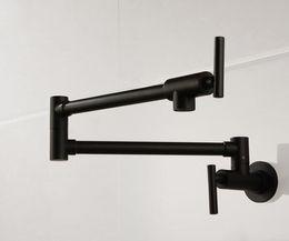Vente en gros Livraison gratuite en laiton mat noir robinet de cuisine mitigeur pot remplissage robinet Swing bec verseur montage mural salle de bains robinet SF777