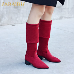 Discount blue stretch over knee boots - SARAIRIS New plus Sizes 32-48 Women's stretch cloth over the knee Boots Slip On Woman Shoes boot leisure Winter lon