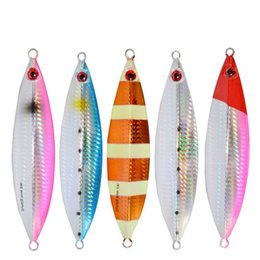 Discount salt water jigs 10pcs Metal Jigs Lure 30g - 200g Slow Jigging Lead Fish Bass Baits Salt Water Luminous Fishing Lure without Fishing Hook