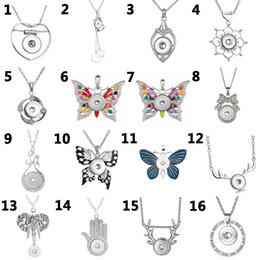 Noosa giNger sNap buttoNs online shopping - Fashion women Butterfly shape mm button Pendant Necklace ginger snap jewelry noosa Accessories fit womenm men gifts