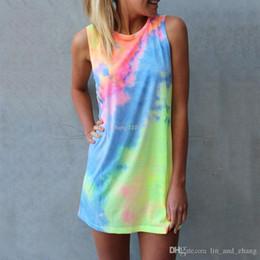 Dresses Tops Canada - Summer Women Tie-dye Print Rainbow Tank Dress Beach Clubwear Shirt Shift Mini Dresses Casual Sleeveless Sundress Blusas Tops