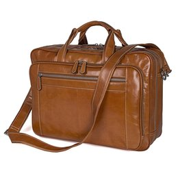 Wholesale Nesitu Big Brown Genuine Leather quot Laptop Men Briefcase Portfolio Male Business Travel Shoulder Messenger Bag M7380
