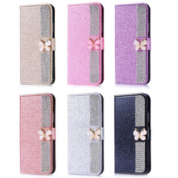 bling bow cases UK - Bow-knot Diamond Bling Flip Wallet PU Leather Case Cover For iPhone Xs Max XR 8 7 6S Plus Samsung S8 S9 S10 Plus Note 9 A9 A8 A6 J8 J4 J6