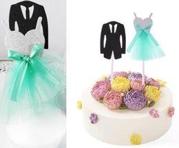 $enCountryForm.capitalKeyWord NZ - Wedding Cake Topper Groom Tuxedo Bridal Dress Toppers decor personalised birthday Cake decoration Party props tiffany blue black