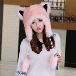 793f32d6c58c8 Winter female warm plus velvet thickening cute cartoon fox Lei Feng hat  northeast outdoor ear protection fur animal hat