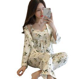 b3a3ef2c8687 New White Ladies Sexy Sleepwear Set Cotton 3PCS Strap Shirt+Pants+Robe Home  Wear Print Floral Sweet Pajamas Pyjamas Negligee