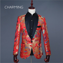 chinese fabric dragons UK - Classic mens suits Chinese style shawl collar Tang suit Colorful dragon woven damask fabric Suitable for wedding host singers Mens suit coat