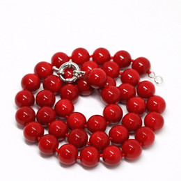 8mm Red Coral Beads Australia - Synthetic red coral round beads 8mm 10mm 12mm 14mm rope chains necklace women wholesale price chain jewelry 18inch B1467-3