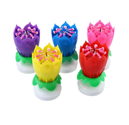 Music Birthday Candles UK - New Musical Lotus Rotating Flower Happy Birthday Party Gift Candle Lights 5 Color Free Shipping