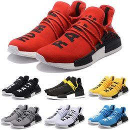 brand new c6037 53519 Race humaine Hommes Femmes Chaussures de course Pharrell Williams HU Runner  Blanc Noir Jaune Rouge Vert Gris Bleu Sport Sneaker Taille 36-47 Vente en  ligne