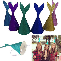 2762931af91cb Glitter Mermaid Tail Hats Headband Wedding Party Horn Cap Crown For Adult  Children Headwear Birthday Paper Caps Xmas Halloween Gift