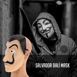Masks Faces Australia - Cosplay Party Mask La Casa De Papel Latex Face mask Salvador Dali Costume Movie Masks Realistic Christmas Halloween XMAS Masque Money Heist