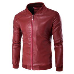 China Men's essential leather jacket PU windproof waterproof male coat zip-up solid Standing collar slim Cardigan Autum winter M-4XL cheap black stand up collar jackets suppliers