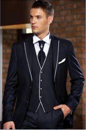 Classic Wool Jacket Canada - Hot Sale Classic Navy Blue 3 Piece Suit Notch Lapel Two Button Men Wedding Tuxedos Men Business Prom Dinner Blazer(Jacket+Pants+Tie+Vest)455