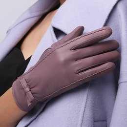 7685e792f562 Sheepskin Bow Short Gloves Ladies Fashion Plus Velvet Thick Warm Driving Winter  Leather Gloves NW185-5
