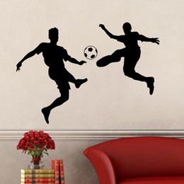 football murals Canada - New Soccer Players Football Wall Stickers Wall Decal For Kids Room Sport Football Sticker Boy Bedroom Mural Home Decor