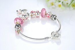 pink glass gifts 2019 - Bamoer 2017 New Arrival Silver Color Lovely Dog Pendant Pink European Glass Beads Charm Bracelets &Bangles Jewelry Pa381