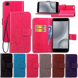 Wholesale For Xiaomi Mi C Case PU Leather Cover Lucky Four Leaf with Wallet Card Holder Hand Strap