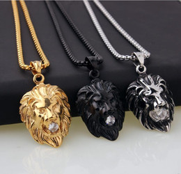 $enCountryForm.capitalKeyWord Australia - 3 styles Titanium Vintage Big Classical Lion Head Pendants silver Gold Plated Choker Necklace Floating Charms Jewelry Wholesale hip hop