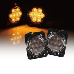 Smoke lampS online shopping - 1 Pair Car LED Side Marker Lights Smoke Lens Yellow Color Fender Turning Signal Lamp for Jeep Wrangler