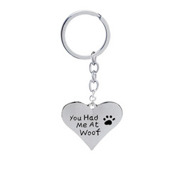 Chinese  you had me at woof pet lover cat dag paw Print Heart pendant Necklaces keychains heart shaped Jewelry key rings for women manufacturers
