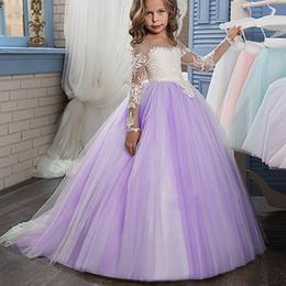 f5ce35404b Vestido púrpura lindo de manga larga vestido de princesa vestido de encaje  de flores para la fiesta Lolita piso-longitud hecha a mano niños Prom  vestido de ...